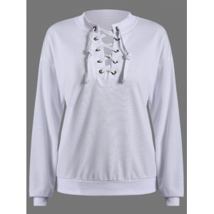 Round Neck Lace Up Pullover Sweatshirt - White - M
