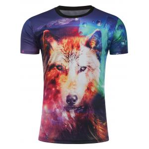 3D Galaxy Fox Print T-Shirt - Colormix - M