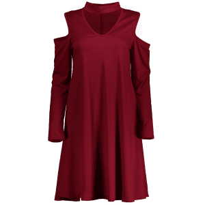 Cold Shoulder Choker Swing Dress - BURGUNDY L