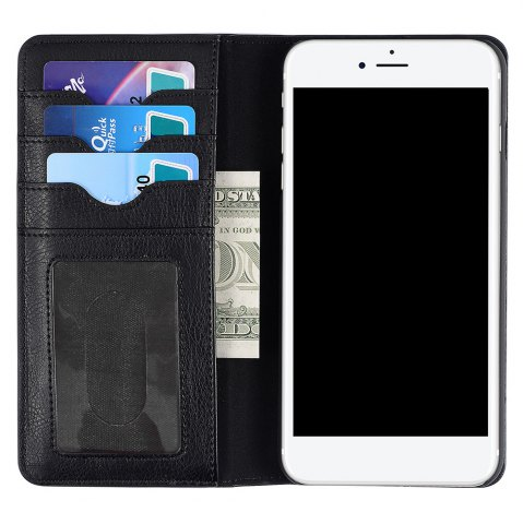 Chic Flip Faux Leather Wallet Stand Holder Case For iPhone - FOR IPHONE 6 PLUS / 6S PLUS BLACK Mobile