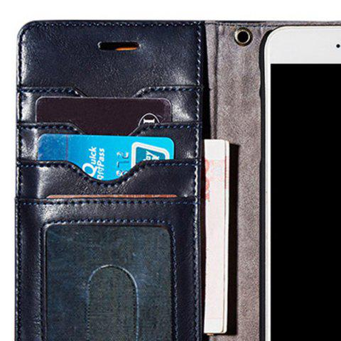 Cheap Faux Leather Flip Wallet Case with Card Slot For iPhone - FOR IPHONE 7 PLUS DEEP BLUE Mobile