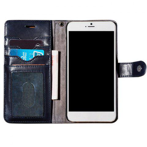Faux Leather Flip Wallet Case with Card Slot For iPhone - Deep Blue - For Iphone 7 Plus