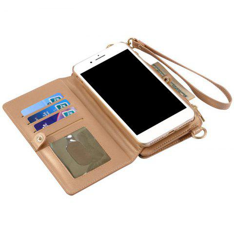 New Multifounction Faux Leather Card Slot Flip Wallet Case For iPhone - FOR IPHONE 7 PLUS ROSE GOLD Mobile