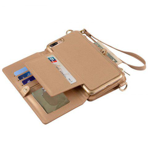 Shop Multifounction Faux Leather Card Slot Flip Wallet Case For iPhone - FOR IPHONE 7 ROSE GOLD Mobile