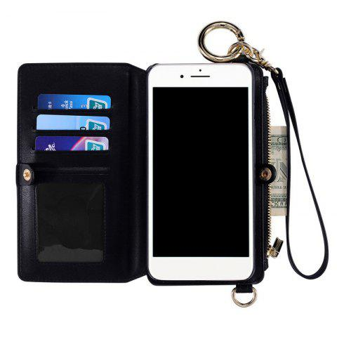 Shop Multifounction Faux Leather Card Slot Flip Wallet Case For iPhone - FOR IPHONE 7 BLACK Mobile
