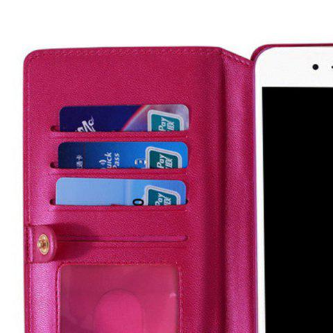Trendy Multifounction Faux Leather Card Slot Flip Wallet Case For iPhone - FOR IPHONE 7 ROSE MADDER Mobile