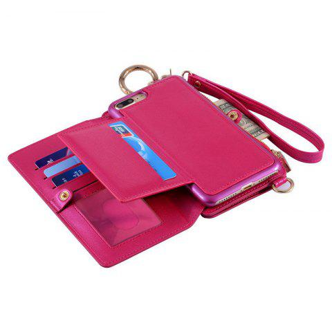 Trendy Multifounction Faux Leather Card Slot Flip Wallet Case For iPhone - FOR IPHONE 6 / 6S ROSE MADDER Mobile