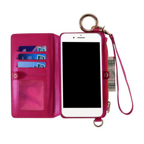 Outfit Multifounction Faux Leather Card Slot Flip Wallet Case For iPhone - FOR IPHONE 6 / 6S ROSE MADDER Mobile