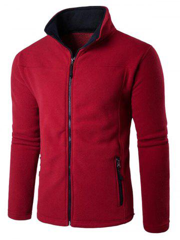 Unique Zip Up Pocket Fleece Jacket - L RED Mobile