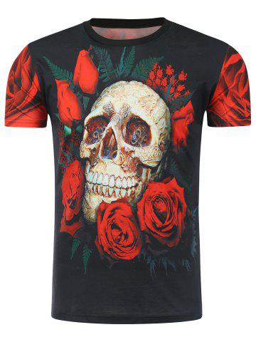3D Skull and Rose Print T-Shirt - Red With Black - M