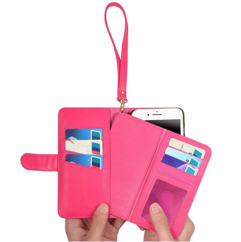 Fancy 2 In 1 Detachable Wallet Phone Case - FOR IPHONE 6 / 6S ROSE RED Mobile