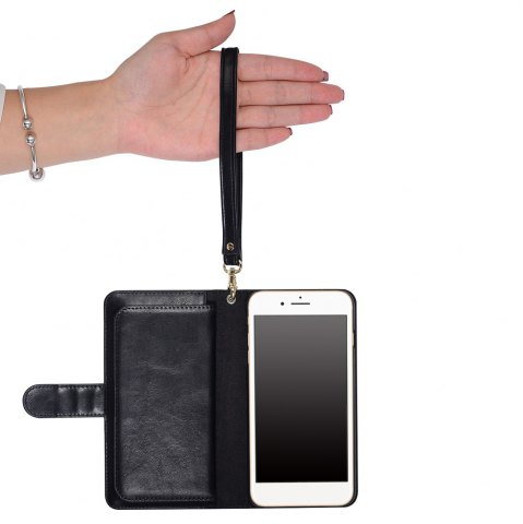 Outfits 2 In 1 Detachable Wallet Phone Case - FOR IPHONE 6 / 6S BLACK Mobile