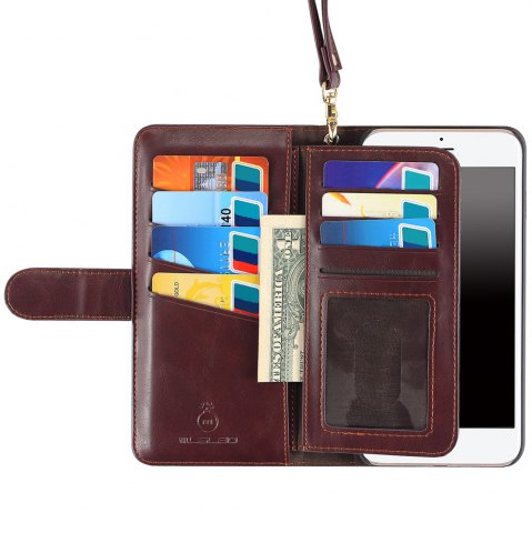 New 2 In 1 Detachable Wallet Phone Case - FOR IPHONE 7 BROWN Mobile