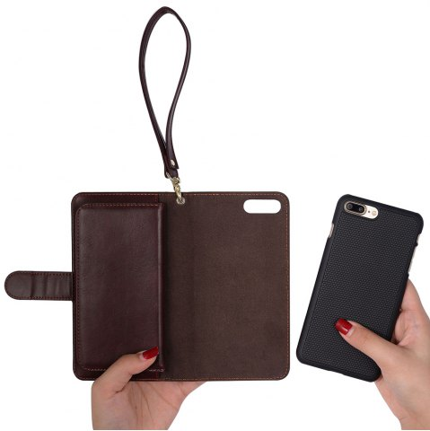 Cheap 2 In 1 Detachable Wallet Phone Case - FOR IPHONE 7 BROWN Mobile