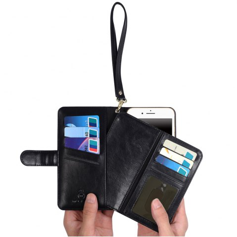 Cheap 2 In 1 Detachable Wallet Phone Case - FOR IPHONE 7 PLUS BLACK Mobile