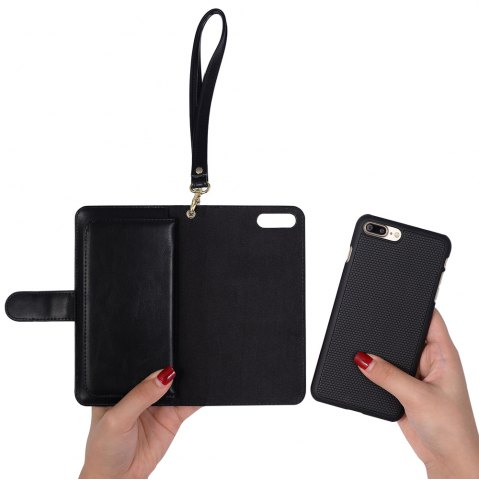 Latest 2 In 1 Detachable Wallet Phone Case - FOR IPHONE 7 PLUS BLACK Mobile