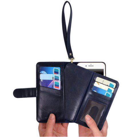 Outfit 2 In 1 Detachable Wallet Phone Case - FOR IPHONE 7 BLUE Mobile