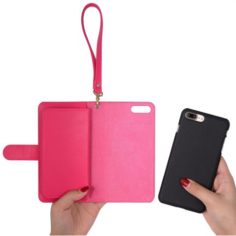 Cheap 2 In 1 Detachable Wallet Phone Case - FOR IPHONE 7 PLUS ROSE RED Mobile