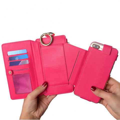 Online 2 In 1 Detachable Zipper Wallet Case For iPhone - FOR IPHONE 7 ROSE RED Mobile