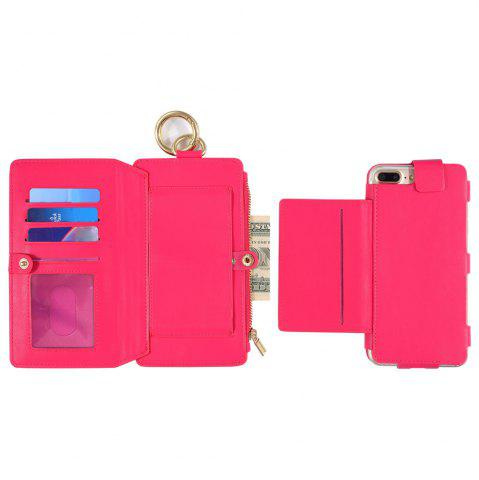 Latest 2 In 1 Detachable Zipper Wallet Case For iPhone - FOR IPHONE 7 ROSE RED Mobile