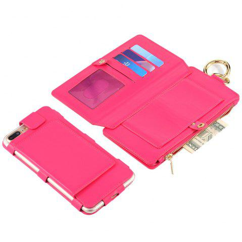 Shop 2 In 1 Detachable Zipper Wallet Case For iPhone - FOR IPHONE 7 ROSE RED Mobile