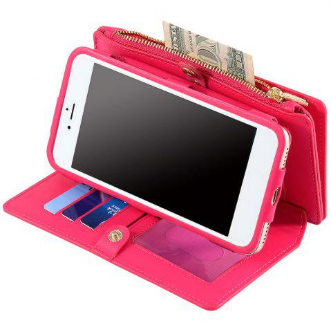 Sale 2 In 1 Detachable Zipper Wallet Case For iPhone - FOR IPHONE 7 ROSE RED Mobile