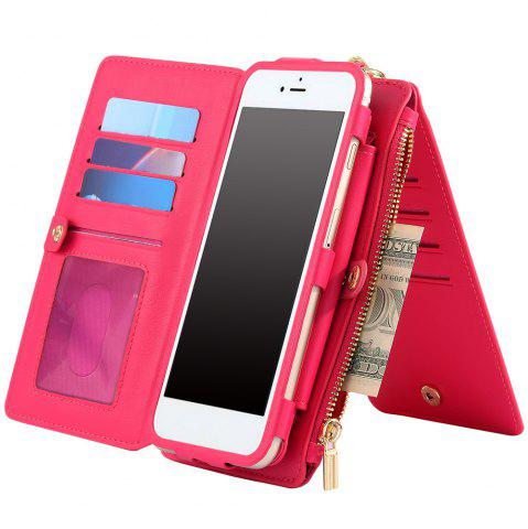 Fashion 2 In 1 Detachable Zipper Wallet Case For iPhone - FOR IPHONE 7 ROSE RED Mobile