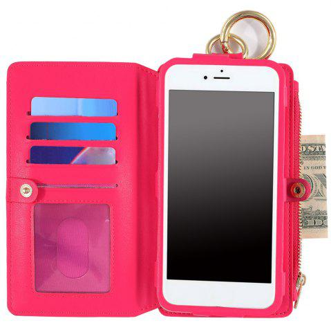 Cheap 2 In 1 Detachable Zipper Wallet Case For iPhone - FOR IPHONE 7 ROSE RED Mobile