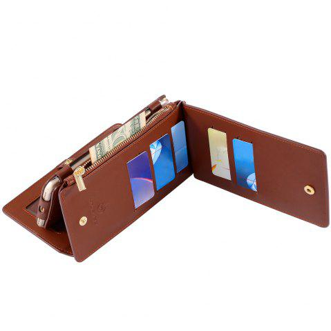 Trendy 2 In 1 Detachable Zipper Wallet Case For iPhone - FOR IPHONE 7 BROWN Mobile