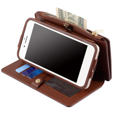 Latest 2 In 1 Detachable Zipper Wallet Case For iPhone - FOR IPHONE 7 BROWN Mobile