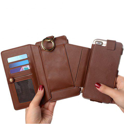 Shop 2 In 1 Detachable Zipper Wallet Case For iPhone - FOR IPHONE 7 BROWN Mobile