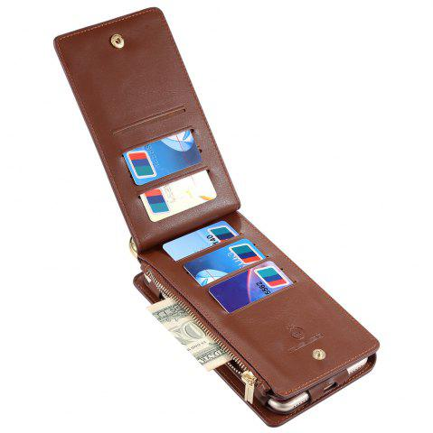 New 2 In 1 Detachable Zipper Wallet Case For iPhone - FOR IPHONE 7 BROWN Mobile