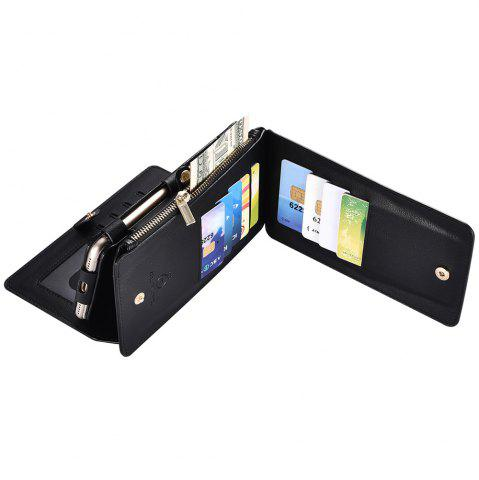 Unique 2 In 1 Detachable Zipper Wallet Case For iPhone - FOR IPHONE 6 PLUS / 6S PLUS BLACK Mobile