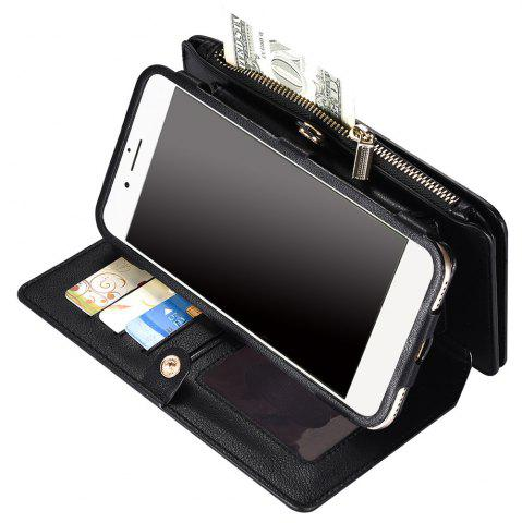 Fashion 2 In 1 Detachable Zipper Wallet Case For iPhone - FOR IPHONE 6 PLUS / 6S PLUS BLACK Mobile