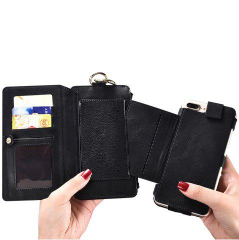 Outfit 2 In 1 Detachable Zipper Wallet Case For iPhone - FOR IPHONE 7 PLUS BLACK Mobile