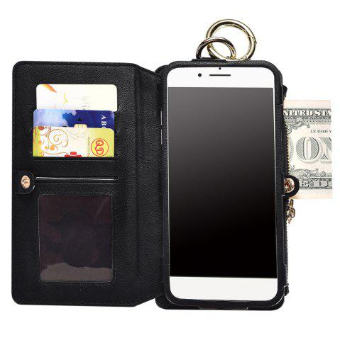 Fashion 2 In 1 Detachable Zipper Wallet Case For iPhone - FOR IPHONE 7 PLUS BLACK Mobile