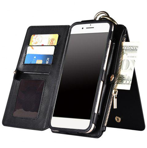 Hot 2 In 1 Detachable Zipper Wallet Case For iPhone - FOR IPHONE 7 PLUS BLACK Mobile