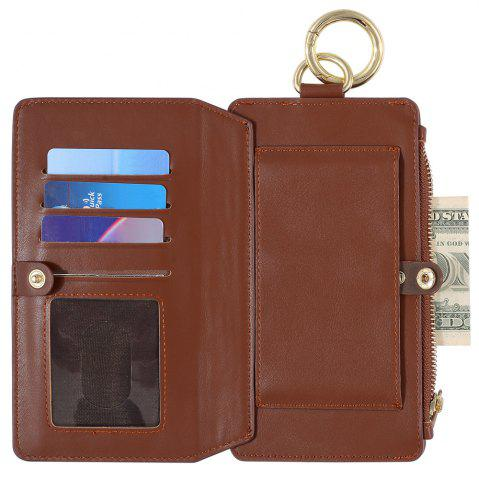 Shop 2 In 1 Detachable Zipper Wallet Case For iPhone - FOR IPHONE 7 PLUS BROWN Mobile