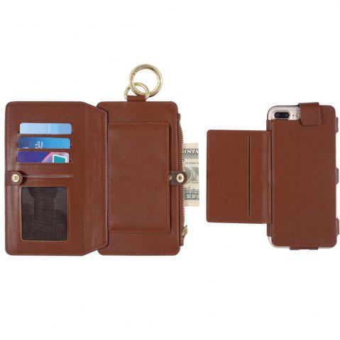 Trendy 2 In 1 Detachable Zipper Wallet Case For iPhone - FOR IPHONE 7 PLUS BROWN Mobile