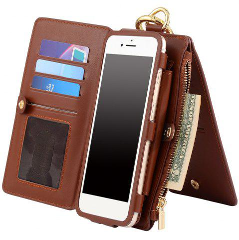 Best 2 In 1 Detachable Zipper Wallet Case For iPhone - FOR IPHONE 7 PLUS BROWN Mobile