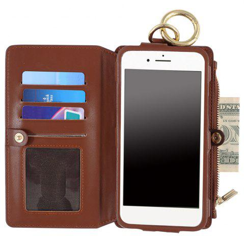 Cheap 2 In 1 Detachable Zipper Wallet Case For iPhone - FOR IPHONE 7 PLUS BROWN Mobile