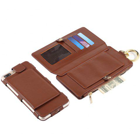 Hot 2 In 1 Detachable Zipper Wallet Case For iPhone - FOR IPHONE 7 PLUS BROWN Mobile