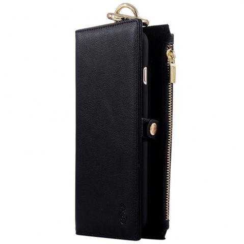 Trendy 2 In 1 Detachable Wallet Case For iPhone Samsung - FOR IPHONE 5 / 5S / SE BLACK Mobile