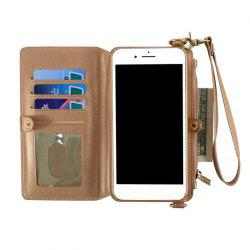 Multifounction Faux Leather Card Slot Flip Wallet Case For iPhone - ROSE GOLD