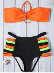 Strapless High Waisted Color Block Bikini