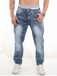 Trimmed Pocket Zippered Casual Jeans