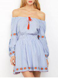 Off Shoulder Striped Embroidered Blouse with Skirt