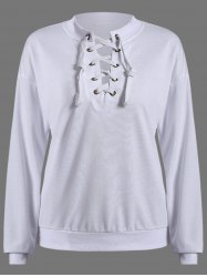 Round Neck Lace Up Pullover Sweatshirt