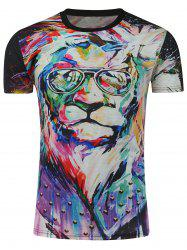3D Lion Oil Painting Print T-Shirt