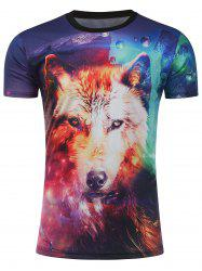 T-shirt imprimé 3D Galaxy Fox - Multicolore